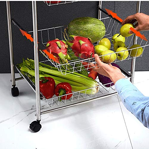 4 Tier 304 Stainless Steel All Purpose Microwave Racks Serving Rolling Cart with Baskets Locking Wheels LLF Kitchen Storage Trolley Color : Silver, Size : 55.73699.7cm