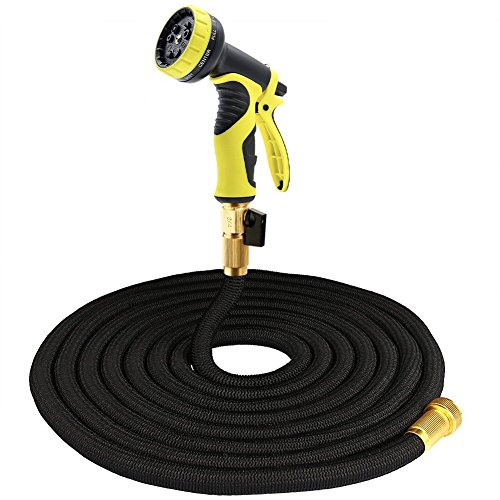 Tespressolife Durable Expandable Strongest Garden Water Hose with Solid Brass Connector and 9 Function Spray Nozzle for Plants, Cleaning Windows/Floor, Washing Cars/Pets, Black