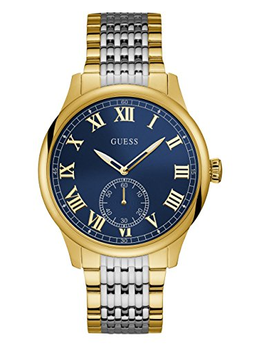 Guess Men's Stainless Steel Blue Dial Watch, Color Blue/Silver/Gold-Tone (Model: ()