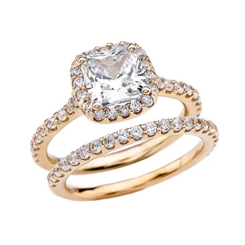 Exquisite 14k Yellow Gold Cushion CZ Solitaire Engagement/Wedding Ring Set (Size 6.75)