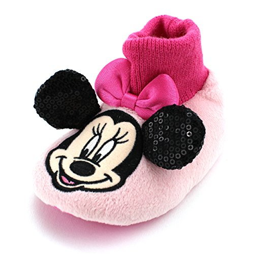 Minnie Mouse Baby Toddler Sock Top Slippers (L (5/6) M US Toddler) (Cheap Minnie Mouse Ears)
