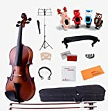 ADM 4/4 Full Size All Solid Student Violin Starter Package, Satin Antique Brown