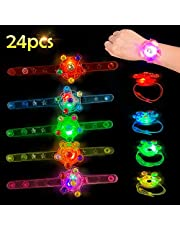 Satkago 24 Pack Upgrade Light up Bracelet Toys, Easter Basket Stuffers Glow in The Dark Wristband with Highlight Spinning Top Fidget Toy Classroom Prizes LED Neon Birthday Party Favors Easter Gifts