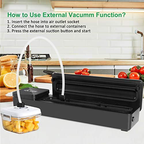 VOLADOR Vacuum Sealer Machine with Kitchen Food Scale, 60Kpa Automatic Vacuum Food Sealer for Dry/Moist Foods, Including 10 Sealing Bags, Cutter, Suction Hose for Jars and Containers
