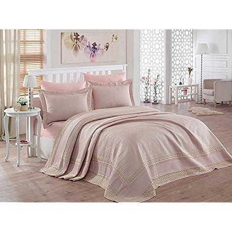 Dantela Vita Jacquard Bed Cover For Queen Bed Margarita Powder