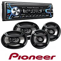 Power Acoustik 1-DIN With 32GB USB/SD/AUX/Bluetooth + Pioneer Two Pairs 200W 6.5 + 230W 6x9 Car Audio 4 Ohm Component Speakers