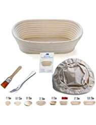 M JINGMEI Banneton Proofing Basket 10 Oval Banneton Brotform for Bread and Dough [FREE BRUSH] Proofing Rising Rattan Bowl + FREE LINER + FREE BREAD FORK (750g dough)