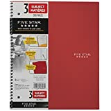 Five Star Wirebound 3-Subject Notebook, 8-1/2 X 11-Inch, College Ruled, 150 Sheets, Assorted Color Covers (06048)