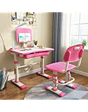 Cantonape Kids Desk and Chair Sets, Height Adjustable Children's Study Table, LED Light, Pencil Case, Bookstand and Storage Drawer