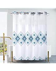 Ecoehoe Extra Long 71x79 White Waffle Fabric Shower Curtain No Hooks with Removable Polyester Liner - Top See Through