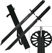 "2PC Combo Full Tang 28"" Tanto Ninja Katana Twin Sword Machete w/Nylon Sheath + Black Chinese Engraved on"