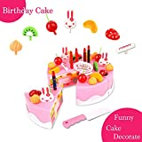 birthday Children's Day gift Food Play Toy Set DIY cutting Pretend Play Birthday Party Cake with Candles for Children Kids babies girls Classic Toy 37pcs BigNoseDeer (New Outer Package) (Normal Cake)