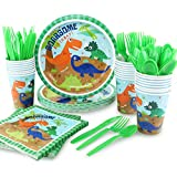hapycity 144Pack Dinosaur Party Supplies Set Serves 24 Perfect Dinosaur Birthday Packs Including Plates Napkins Cups Forks Spoons Knives