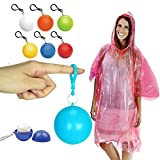 Rain Poncho Disposable Outdoor Emergency Poncho Plastic Ball Pack with Clip for Travel Backpack 6 Packs Assorted Color