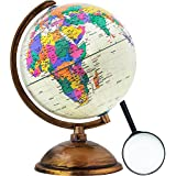World Globe - Antique Decorative in Style Sphere with Magnifying Glass - World Map Kids Educational Learning Toy Engaging Children - Old World Style with Desktop Stand
