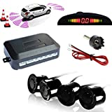 TKOOFN Highly Sensitive Buzzer Safety Alert Car Reverse Back Up Radar Detector System with 4 Ultrasonic Parking Sensors & LED Display for Universal Auto Vehicle - Black