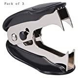 Cmxsevenday No.0232 Staple Remover Remover for Staple 24/6, 26/6, Pack of 3 - Black