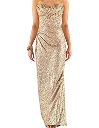 Ever Girl Women's Sweetheart Sequins Long Bridesmaid Dress Wedding Party Gown