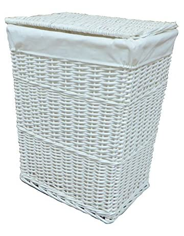8549975b148 Arpan Large White Wicker Laundry Basket With White Lining