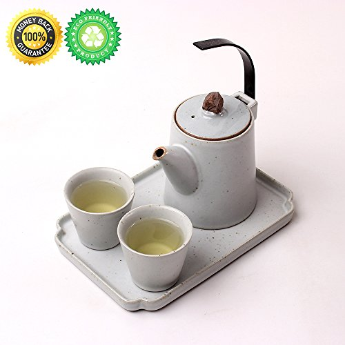 Japan Tea-Set for 2 with Filter & Decor Tray,Gift Box,TEANAGOO-Dione,Pot (10 oz), Strainer Infuser, Infused Zisha Zen Cup, One Modern Chinese White Unique Asian Handle Service, Adults Loose Leaf Tea