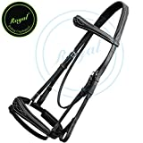 Royal Fancy Anatomic Bridle & PP Rubber Grip Reins./ Vegetable Tanned Leather./ Stainless Steel Buckles.