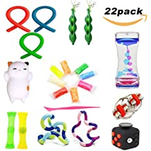 22 Pack Sensory Fidget Toys Set Liquid Motion Timer/Fidget Cube/Flippy Chain/Stretchy String/Twisted/Squeeze-a-Bean Soybeans/Slime/Mesh & Marble for ADHD Autism Stress Anxiety Relief Adult Kids