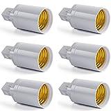 AWE-LIGHT 6-Pack G24 to E27 LED Bulb Base Adapter Converters Light Sockets Lamp Holder