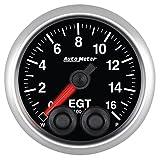 """Auto Meter 5646 Elite 2-1/16"""" 0-1600 Degree Fahrenheit Exhaust Gas Temperature Pressure Gauge"""