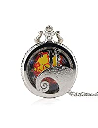 Leegoal Dearm World 3D Bronze Effect Pocket Watch Casual Nightmare Before Christmas Pocket Watch Steampunk Necklace Watch Unisex Gifts for Kids