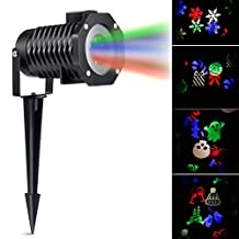 Fornorm Christmas light projector, LED Lawn Landscape Garden Waterproof Lights With 10 pieces Pattern Lens for Xmas Birthday New Year Halloween Party Holiday Decoration (RGB (red, green, blue, white)