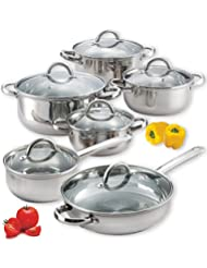 Food Network Cookware Set Premium 12 Piece, Stainless Steel Cookware, Silver, Glass Lid