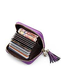 MuLier Genuine Leather Zipper Purse Tassels Anti RFID Credit Card Holder Small Wallet