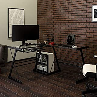 Walker Edison Modern Corner L Shaped Glass Computer Writing Gaming Gamer Command Center Workstation Desk Home Office, Single, Black