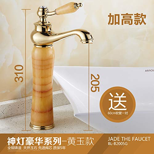 14 LHbox European-style gold-copper natural jade faucets antique table basin of cold and hot gold plated marble basin faucet, of God Light Classic gold Series White corn)