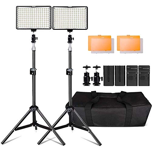Kit de LED Iluminacion,Yeeteem 160 Regulable Ultra High Power Panel Camara Digital / Videocamara Video Light con Soporte de Luz de Estudio de 79 Alto y 3200/ 5500K Kit de Luces Video