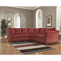 Darcy 75001-55-56 Stationary Fabric Sectional Sofa with 5 Loose Seat Cushions and Plush Padded Arms in Salsa