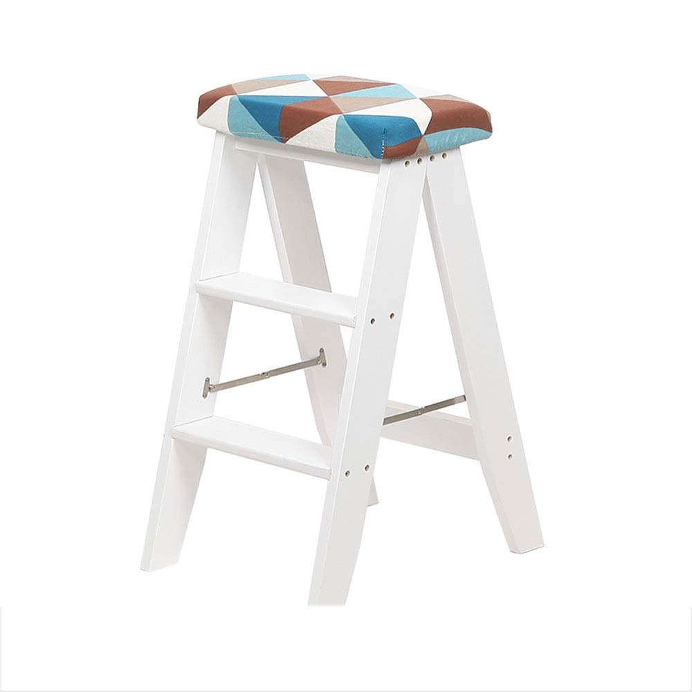 Style C RANRANJJ 3 Steps Ladder Stool,Solid Wood Step Ladder Stool Multifunction Folding Stepladder for Kitchen Library Office, Removable Cushion (color   Style B)