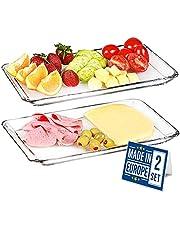 Crystalia Premium Rectangle Glass Serving Plates, Elegant Serving Breakfast Service Glass Tray, Lead-Free Dishes for Dinner Dessert Appetizer, Set of 2 PCs