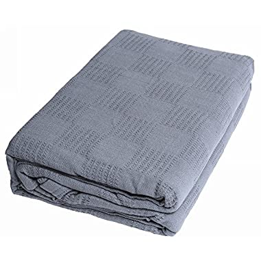 Pure-Cotton Thermal Blanket (Full/Queen, Smoke Grey) - 100% Cotton Couch Quilt, Breathable Full/Queen Throw Blanket - By Utopia Bedding