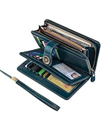 Vintage Style Genuine Leather Large Capacity Wallet Organizer for Women
