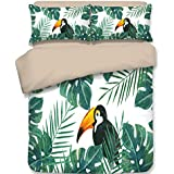 Dodou Tropical Toucan with Leaves Pattern Bedding Sets Girls Woman Fresh Garden Style Bedding Sets 100% polyester Duvet Cover Sets 3pcs (Full)