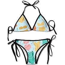 Qiangzhao Womens Sexy Swimsuits Padded Push-up Bikini Set Fashion Bikyni Pattern Beach Bathing Suits Two Pieces Swimwear