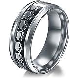 Men Women The Punisher Skull Stainless Steel Titanium Wedding Band Ring Size6-13#by pimchanok shop (13, Black Silver)