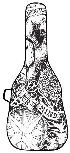 BOLDFACE Sketch Acoustic Guitar Case. Printed panel is interchangeable
