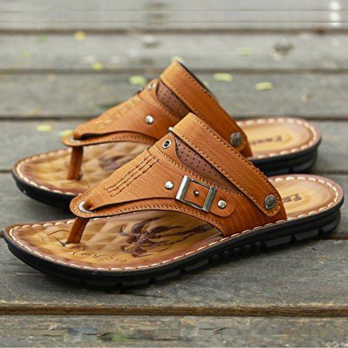 ZHANGJIA Herren Fashion Schuhe, Toe Sandalen, Sommer Legere Schuhe, Schuhe, Schuhe, Koreanisch Weichen Boden Dual-Purpose Rutschfeste Hausschuhe, 39, Gelb 8819 72f191