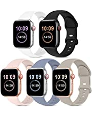 5 Pack Bands Compatible with Apple Watch Band 38mm 40mm 42mm 44mm, Soft Silicone Sport Replacement Strap Compatible with iWatch Series 6 5 4 3 2 1 SE Women Men