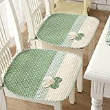 Lovely Flower Chair Seat Pads Thin Cotton Chair Mats for Dining Office Home Car Chairs Nonslip Decorative Chair Pads with Ties (45 x 45cm / 17.7'' x 17.7'') Green Pack of 2