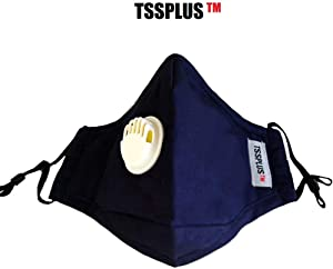 TSSPLUS PM2.5 Anti Air Pollution Reusable Washable Face Mask Respirator 2 Filters (Deep blue)