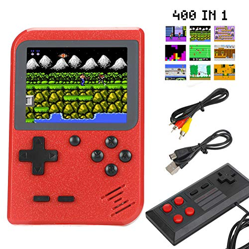 "Sefitopher Mini Retro Handheld Game Console 400 Classic Games Portable Game Console 3"" LCD Screen TV Output Support for Connecting TV & 2 Players 800mAh Rechargeable Battery Gift for Kids Adult (Red) from Sefitopher"