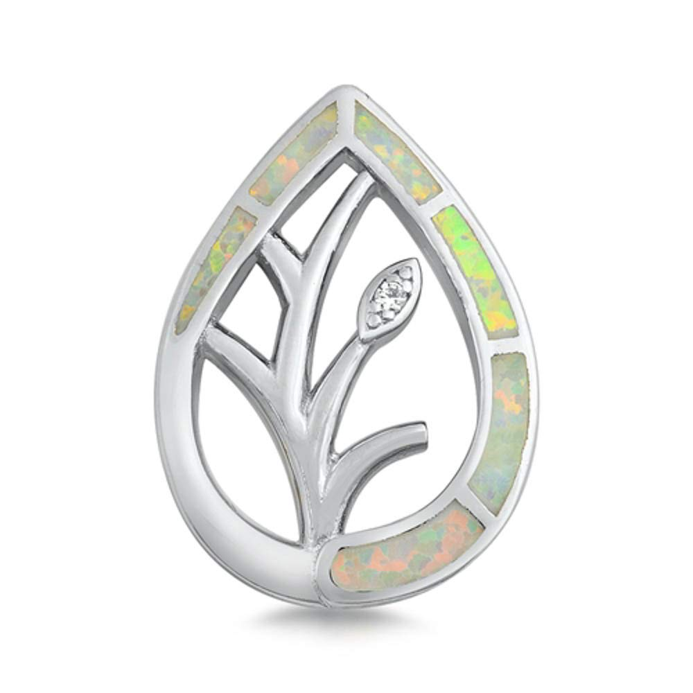 Oxford Diamond Co Sterling Silver Lab Created Opal Leaf Shape Cubic Zirconia Pendant Colors Available